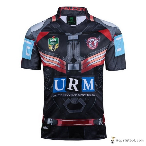 Camiseta Rugby Manly Sea Eagles Falcon Marvel 2017 Negro